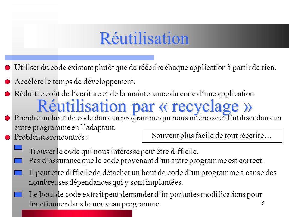 5 Réutilisation Utiliser du code existant plutôt que de réécrire chaque application à partir de rien.
