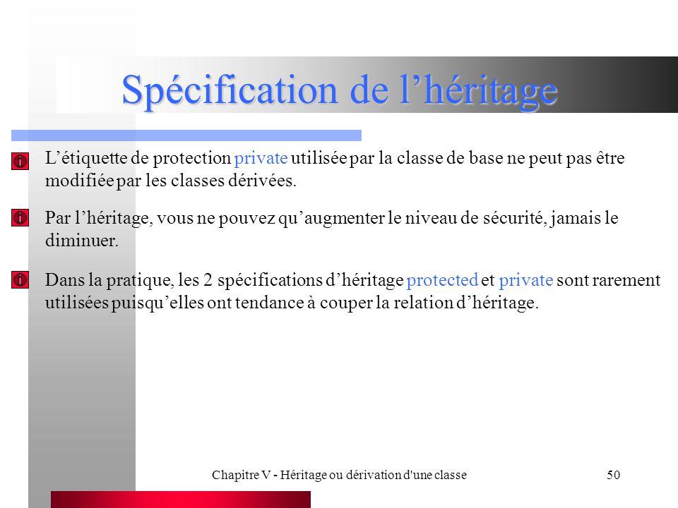 Chapitre V - Héritage ou dérivation d une classe50 Spécification de l'héritage L'étiquette de protection private utilisée par la classe de base ne peut pas être modifiée par les classes dérivées.