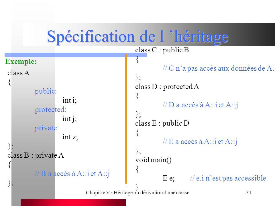 Chapitre V - Héritage ou dérivation d une classe51 Spécification de l 'héritage Exemple: class A { public: int i; protected: int j; private: int z; }; class B : private A { // B a accès à A::i et A::j }; class C : public B { // C n'a pas accès aux données de A.