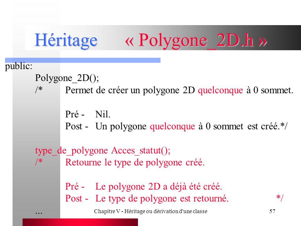 Chapitre V - Héritage ou dérivation d une classe57 Héritage« Polygone_2D.h » public: Polygone_2D(); /*Permet de créer un polygone 2D quelconque à 0 sommet.