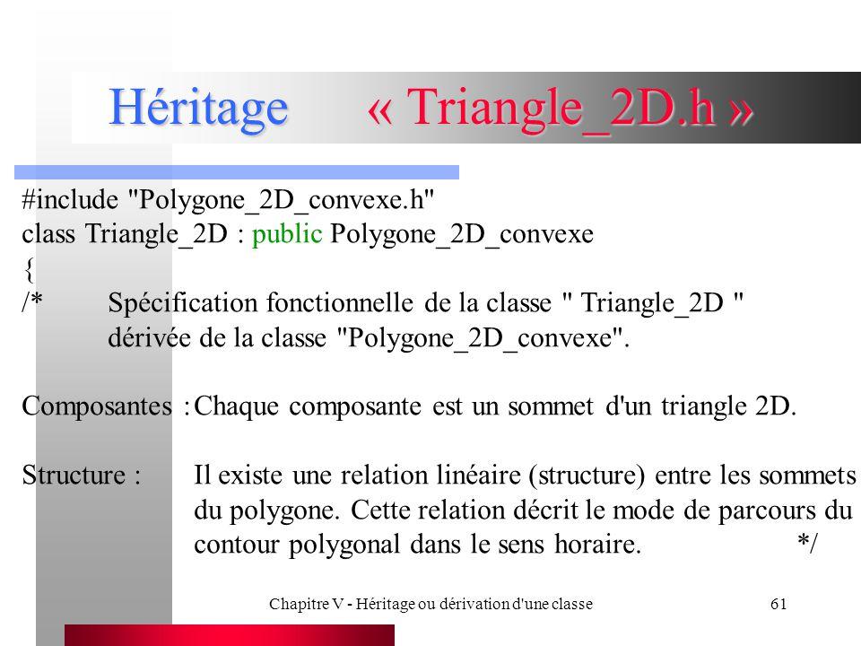 Chapitre V - Héritage ou dérivation d une classe61 Héritage« Triangle_2D.h » #include Polygone_2D_convexe.h class Triangle_2D : public Polygone_2D_convexe { /*Spécification fonctionnelle de la classe Triangle_2D dérivée de la classe Polygone_2D_convexe .