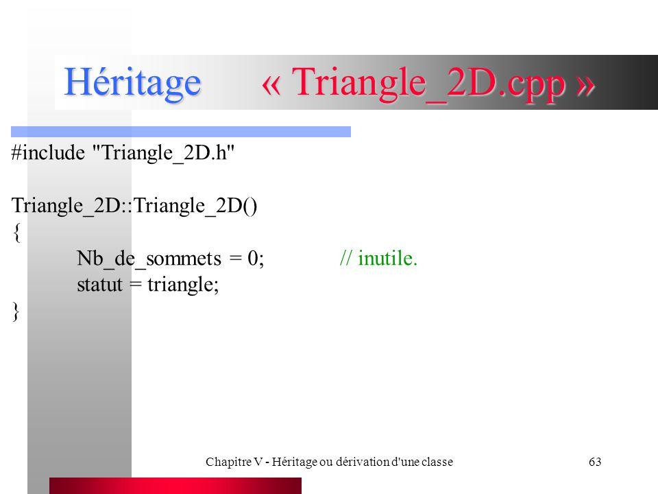 Chapitre V - Héritage ou dérivation d une classe63 Héritage« Triangle_2D.cpp » #include Triangle_2D.h Triangle_2D::Triangle_2D() { Nb_de_sommets = 0;// inutile.
