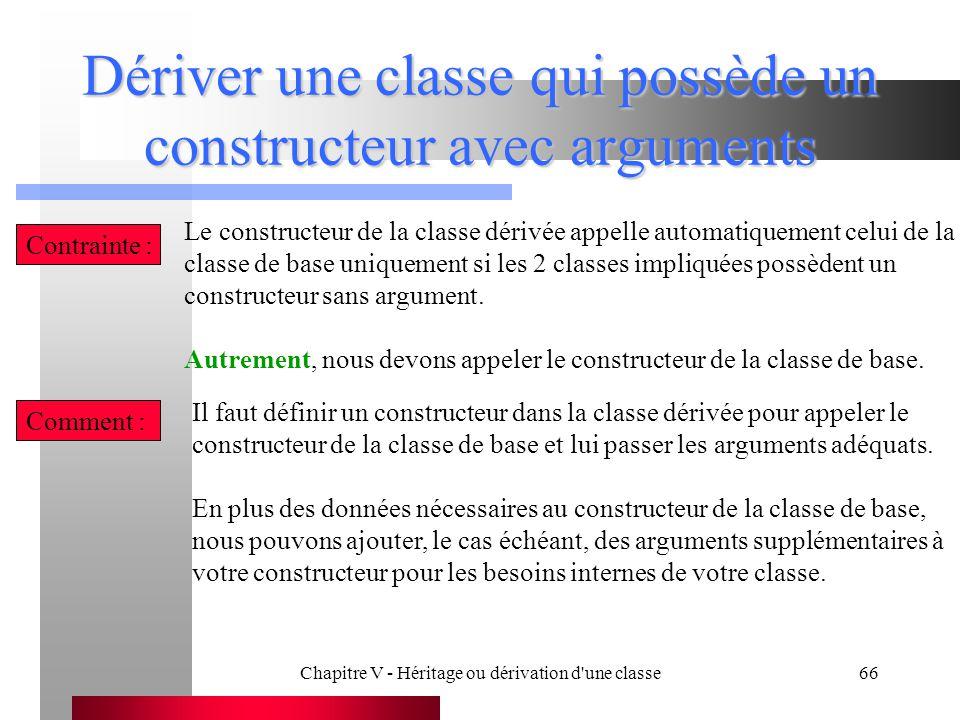 Chapitre V - Héritage ou dérivation d une classe66 Dériver une classe qui possède un constructeur avec arguments Contrainte : Le constructeur de la classe dérivée appelle automatiquement celui de la classe de base uniquement si les 2 classes impliquées possèdent un constructeur sans argument.