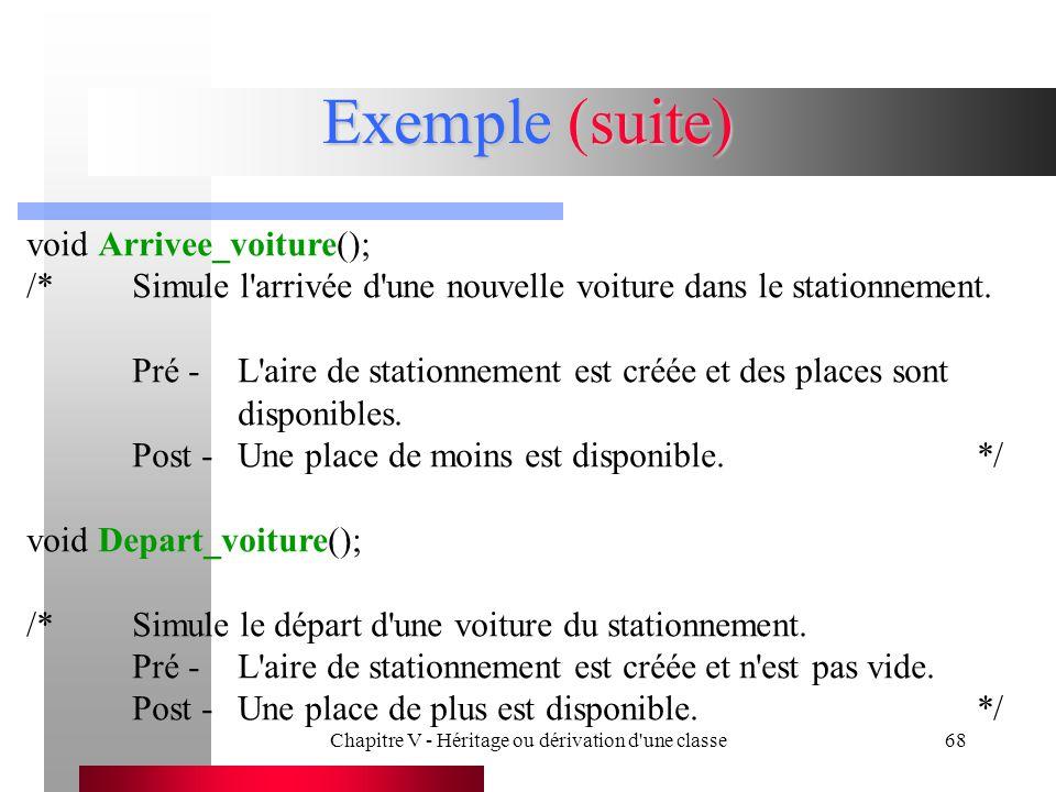 Chapitre V - Héritage ou dérivation d une classe68 Exemple (suite) void Arrivee_voiture(); /*Simule l arrivée d une nouvelle voiture dans le stationnement.