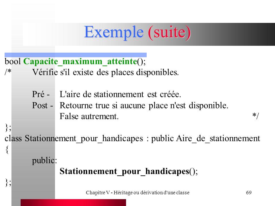 Chapitre V - Héritage ou dérivation d une classe69 Exemple (suite) bool Capacite_maximum_atteinte(); /*Vérifie s il existe des places disponibles.