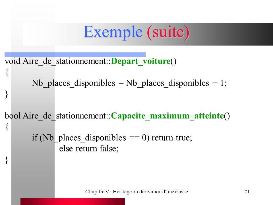 Chapitre V - Héritage ou dérivation d une classe71 Exemple (suite) void Aire_de_stationnement::Depart_voiture() { Nb_places_disponibles = Nb_places_disponibles + 1; } bool Aire_de_stationnement::Capacite_maximum_atteinte() { if (Nb_places_disponibles == 0) return true; else return false; }