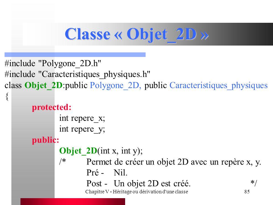 Chapitre V - Héritage ou dérivation d une classe85 Classe « Objet_2D » #include Polygone_2D.h #include Caracteristiques_physiques.h class Objet_2D:public Polygone_2D, public Caracteristiques_physiques { protected: int repere_x; int repere_y; public: Objet_2D(int x, int y); /*Permet de créer un objet 2D avec un repère x, y.