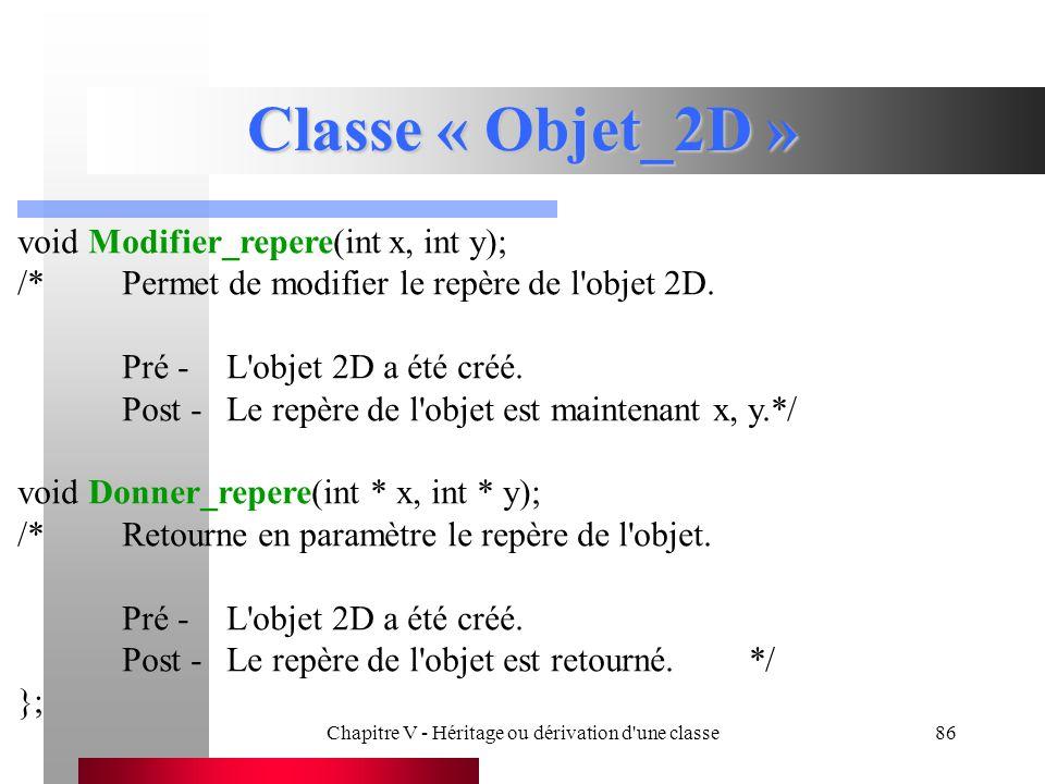 Chapitre V - Héritage ou dérivation d une classe86 Classe « Objet_2D » void Modifier_repere(int x, int y); /*Permet de modifier le repère de l objet 2D.