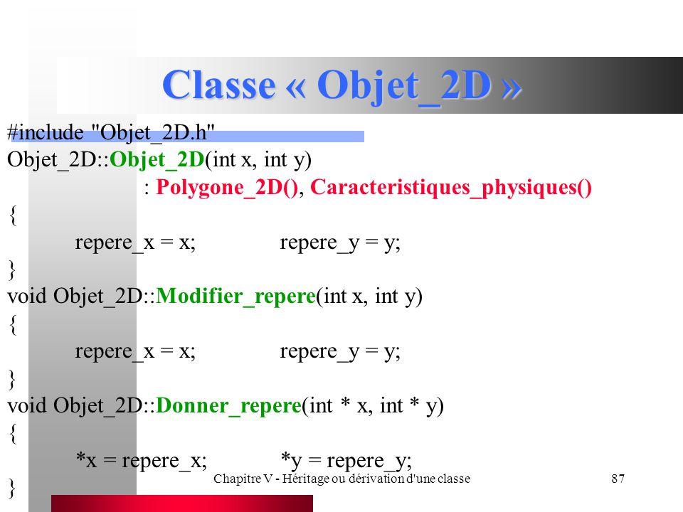 Chapitre V - Héritage ou dérivation d une classe87 Classe « Objet_2D » #include Objet_2D.h Objet_2D::Objet_2D(int x, int y) : Polygone_2D(), Caracteristiques_physiques() { repere_x = x;repere_y = y; } void Objet_2D::Modifier_repere(int x, int y) { repere_x = x;repere_y = y; } void Objet_2D::Donner_repere(int * x, int * y) { *x = repere_x;*y = repere_y; }