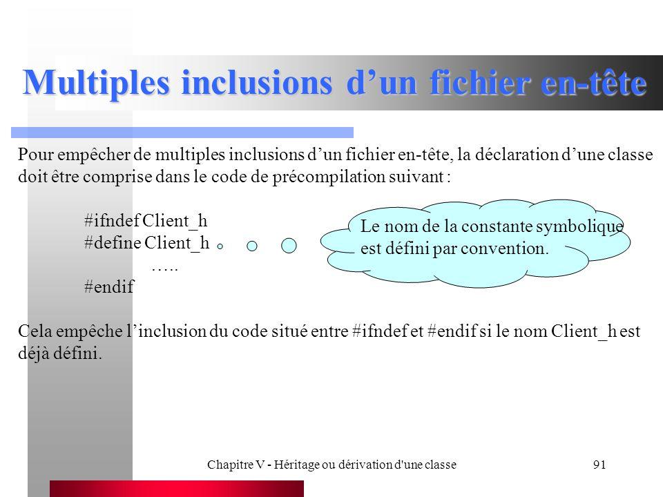 Chapitre V - Héritage ou dérivation d une classe91 Multiples inclusions d'un fichier en-tête Pour empêcher de multiples inclusions d'un fichier en-tête, la déclaration d'une classe doit être comprise dans le code de précompilation suivant : #ifndef Client_h #define Client_h …..