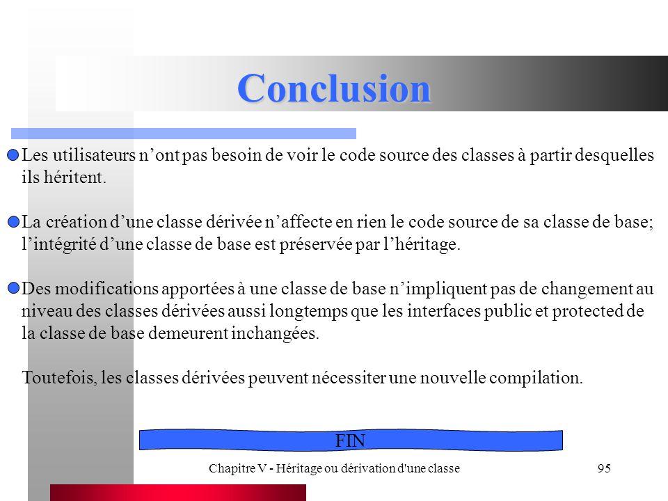 Chapitre V - Héritage ou dérivation d une classe95 Conclusion Les utilisateurs n'ont pas besoin de voir le code source des classes à partir desquelles ils héritent.