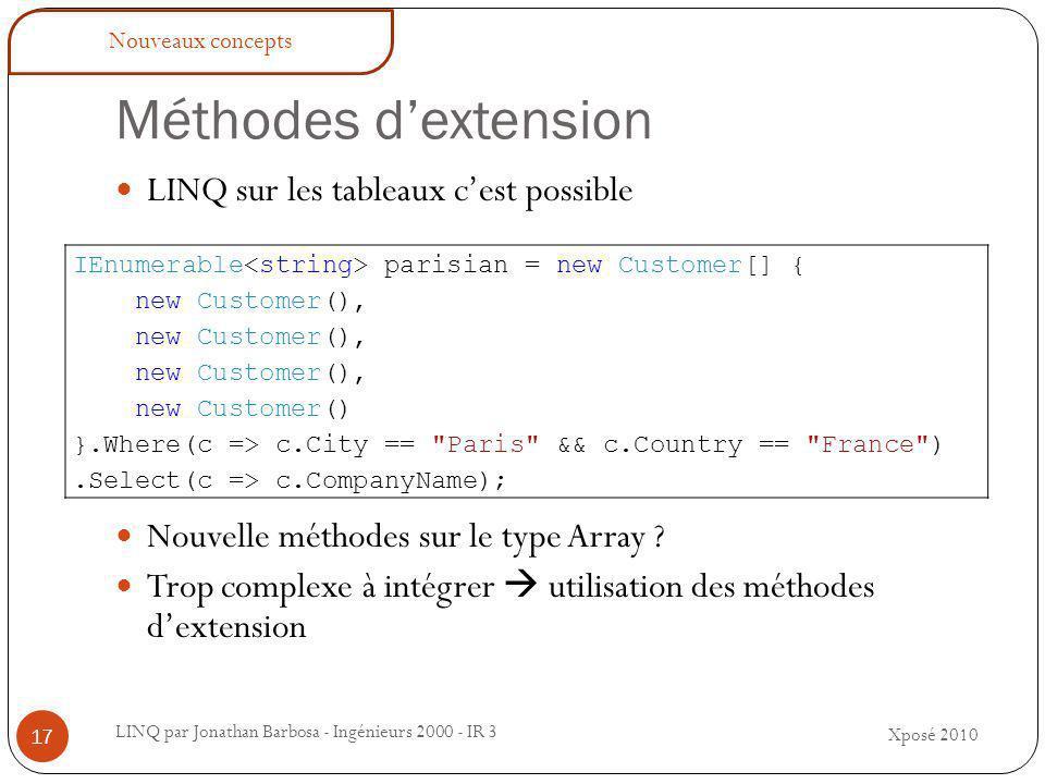 Méthodes d'extension LINQ par Jonathan Barbosa - Ingénieurs 2000 - IR 3 LINQ sur les tableaux c'est possible Nouvelle méthodes sur le type Array .