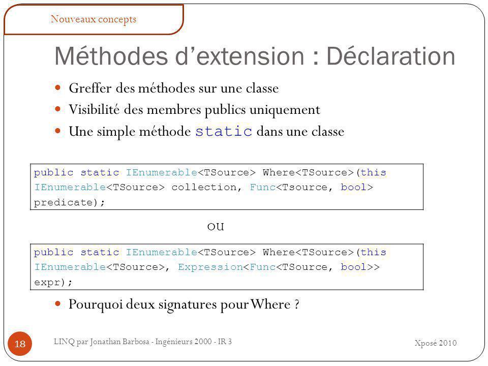 Méthodes d'extension : Déclaration LINQ par Jonathan Barbosa - Ingénieurs 2000 - IR 3 Greffer des méthodes sur une classe Visibilité des membres publics uniquement Une simple méthode static dans une classe Pourquoi deux signatures pour Where .