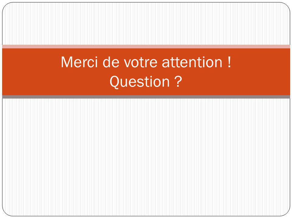 Merci de votre attention ! Question