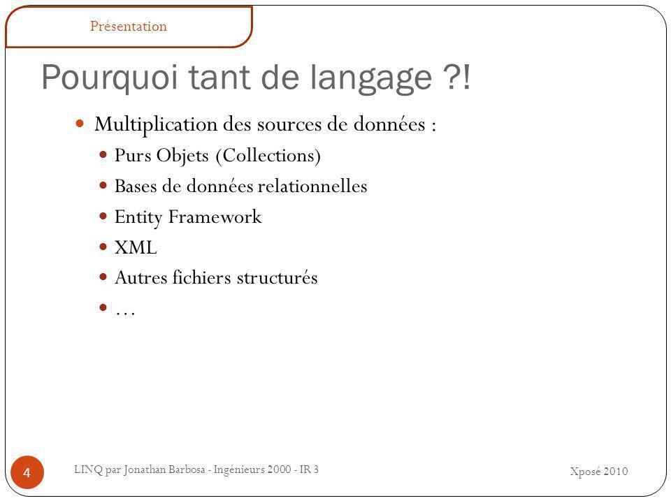 Pourquoi tant de langage ?.