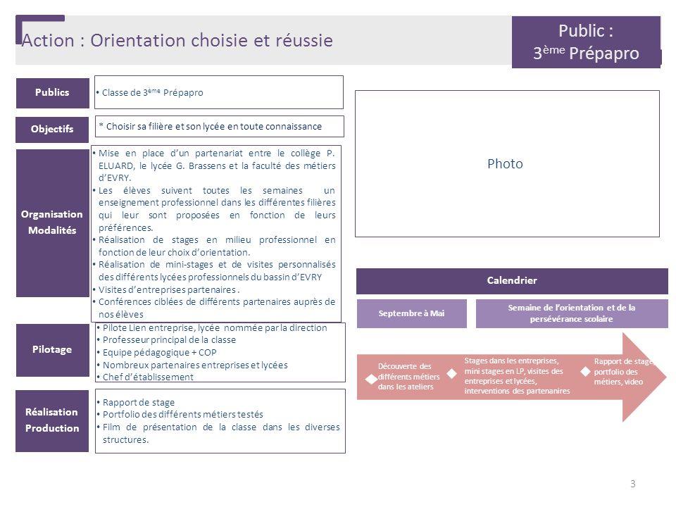 Action : Orientation choisie et réussie Publics Classe de 3 ème Prépapro Organisation Modalités Mise en place d'un partenariat entre le collège P. ELU