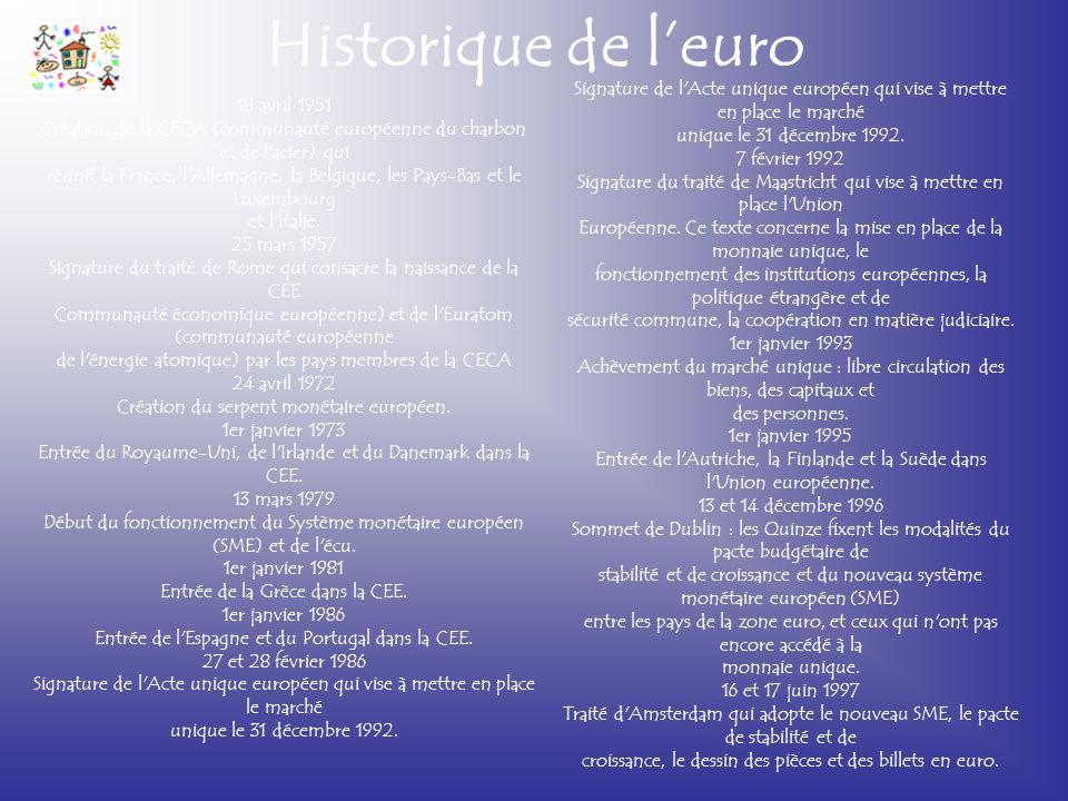 Historique de l'euro 18 avril 1951 Création de la CECA (communauté européenne du charbon et de l'acier) qui réunit la France, l'Allemagne, la Belgique
