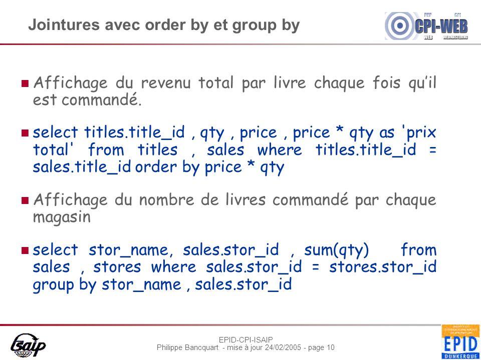 EPID-CPI-ISAIP Philippe Bancquart - mise à jour 24/02/2005 - page 10 Jointures avec order by et group by Affichage du revenu total par livre chaque fois qu'il est commandé.