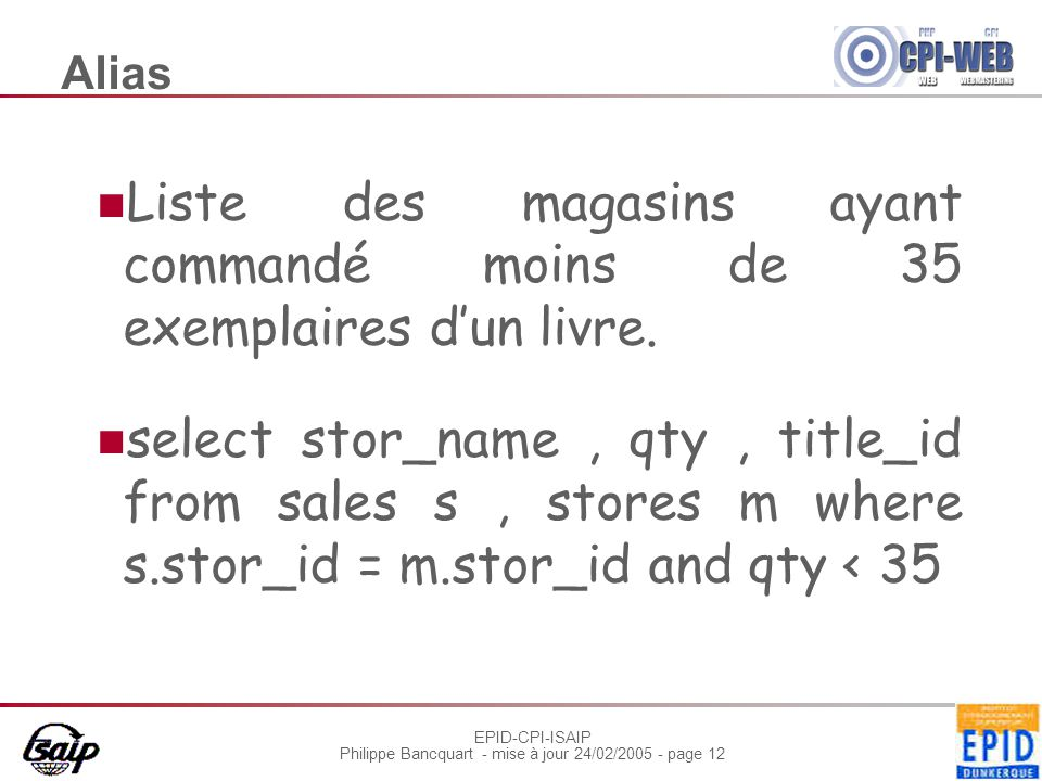 EPID-CPI-ISAIP Philippe Bancquart - mise à jour 24/02/2005 - page 12 Alias Liste des magasins ayant commandé moins de 35 exemplaires d'un livre.