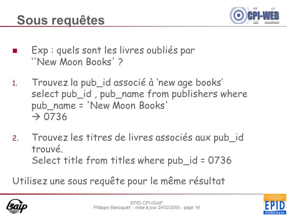 EPID-CPI-ISAIP Philippe Bancquart - mise à jour 24/02/2005 - page 16 Sous requêtes Exp : quels sont les livres oubliés par ''New Moon Books' ? 1. Trou