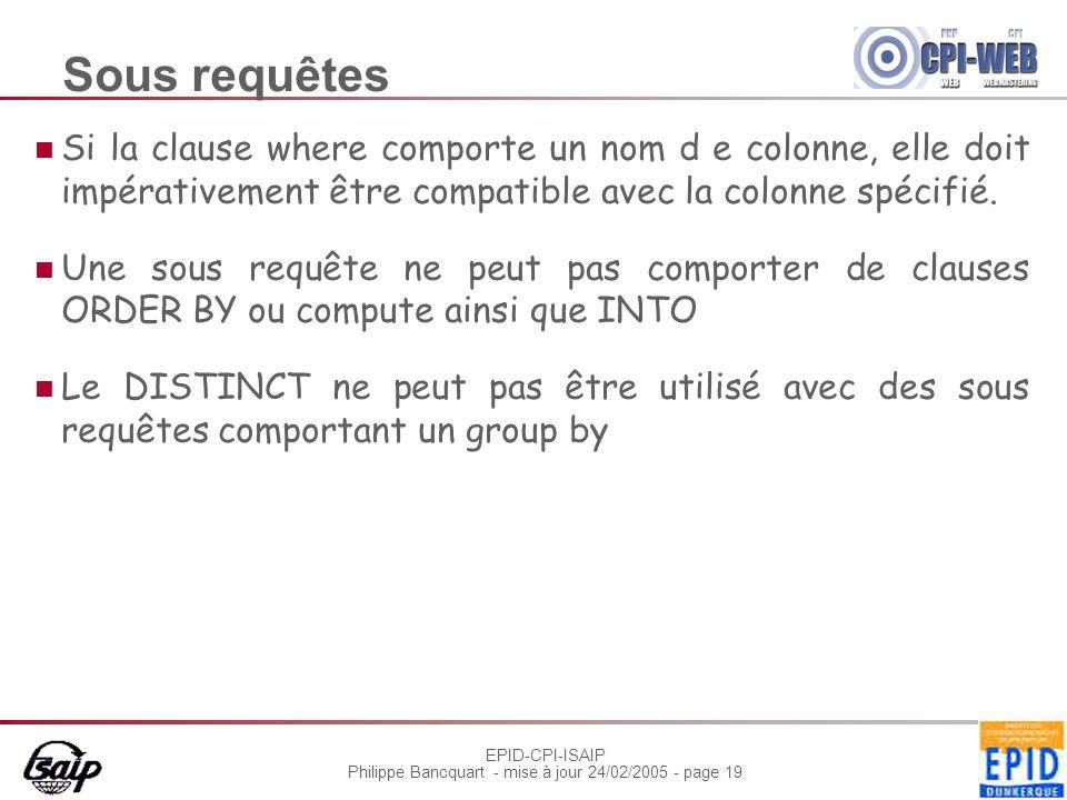 EPID-CPI-ISAIP Philippe Bancquart - mise à jour 24/02/2005 - page 19 Sous requêtes Si la clause where comporte un nom d e colonne, elle doit impérativ