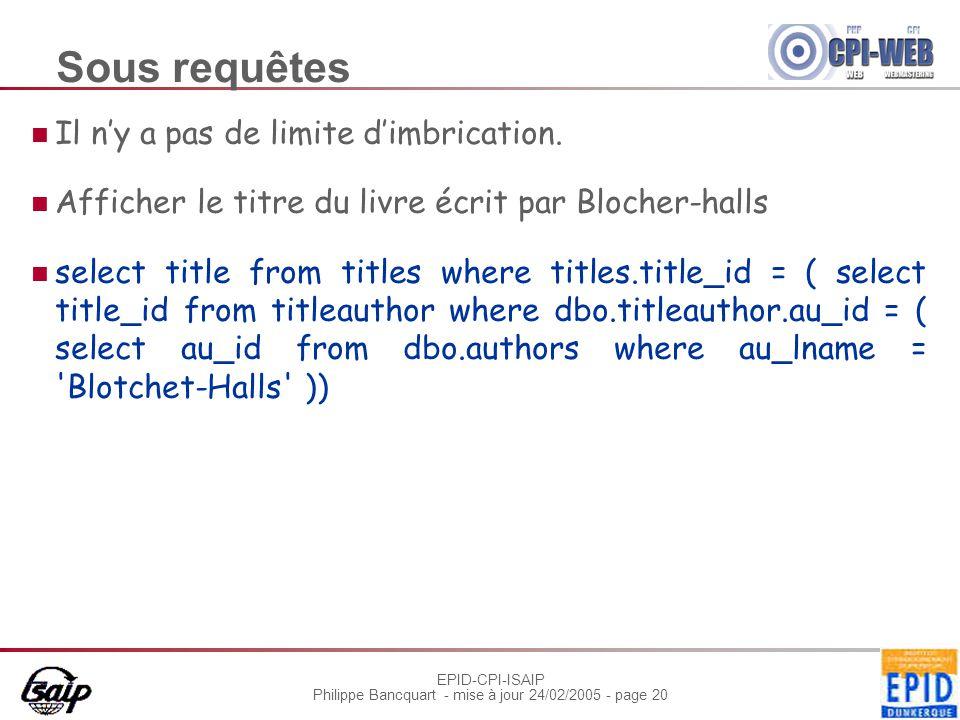 EPID-CPI-ISAIP Philippe Bancquart - mise à jour 24/02/2005 - page 20 Sous requêtes Il n'y a pas de limite d'imbrication. Afficher le titre du livre éc