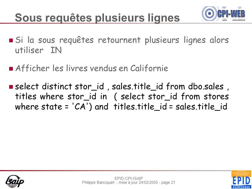 EPID-CPI-ISAIP Philippe Bancquart - mise à jour 24/02/2005 - page 21 Sous requêtes plusieurs lignes Si la sous requêtes retournent plusieurs lignes al