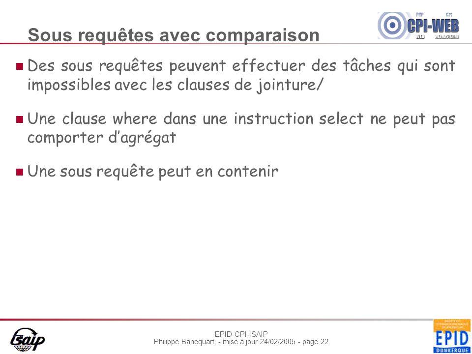 EPID-CPI-ISAIP Philippe Bancquart - mise à jour 24/02/2005 - page 22 Sous requêtes avec comparaison Des sous requêtes peuvent effectuer des tâches qui sont impossibles avec les clauses de jointure/ Une clause where dans une instruction select ne peut pas comporter d'agrégat Une sous requête peut en contenir