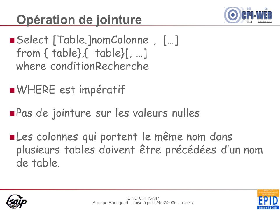 EPID-CPI-ISAIP Philippe Bancquart - mise à jour 24/02/2005 - page 7 Opération de jointure Select [Table.]nomColonne, […] from { table},{ table}[, …] w
