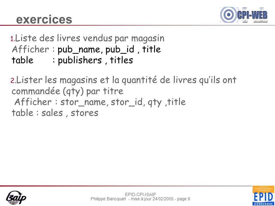 EPID-CPI-ISAIP Philippe Bancquart - mise à jour 24/02/2005 - page 19 Sous requêtes Si la clause where comporte un nom d e colonne, elle doit impérativement être compatible avec la colonne spécifié.