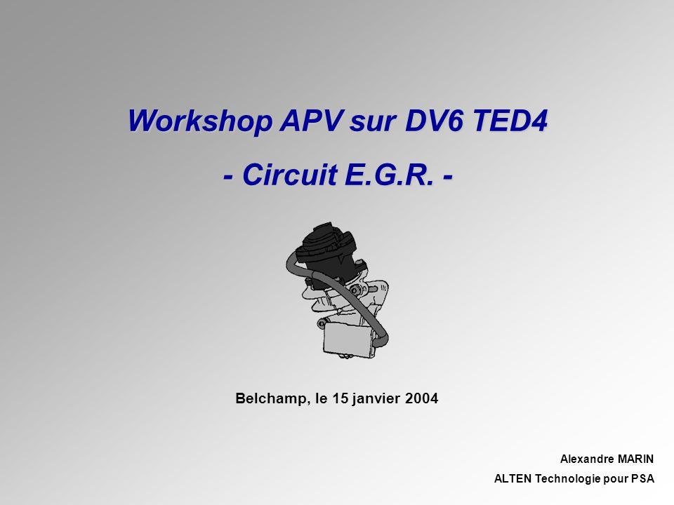 SOMMAIRE Belchamp, le 15 janvier 2004Page 2 Workshop APV sur DV6 TED4 – Circuit E.G.R.