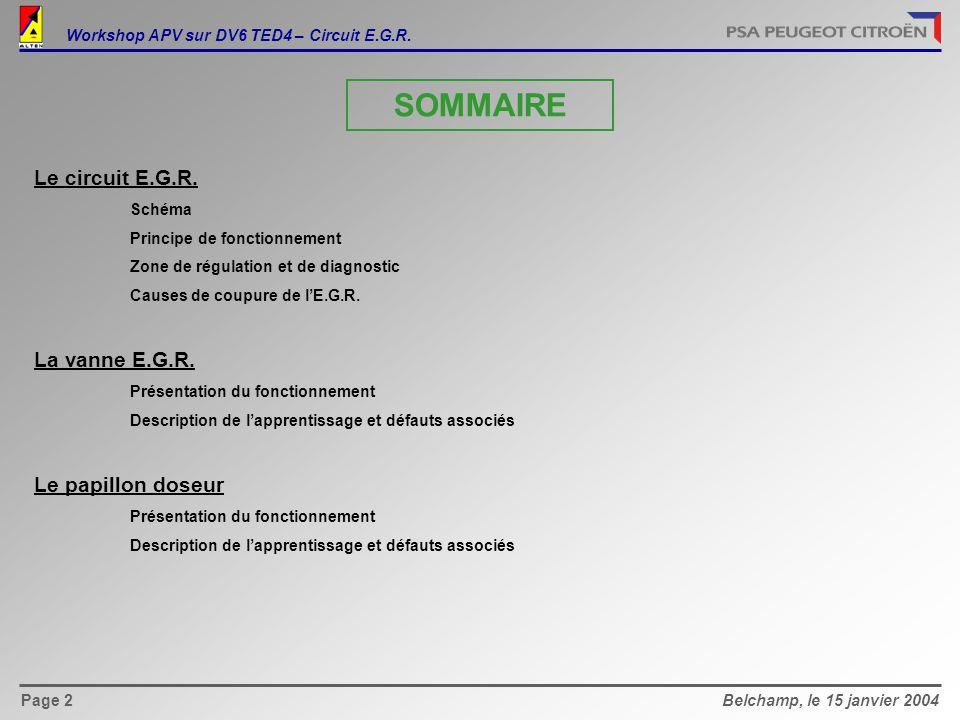 Belchamp, le 15 janvier 2004Page 13 Workshop APV sur DV6 TED4 – Circuit E.G.R.