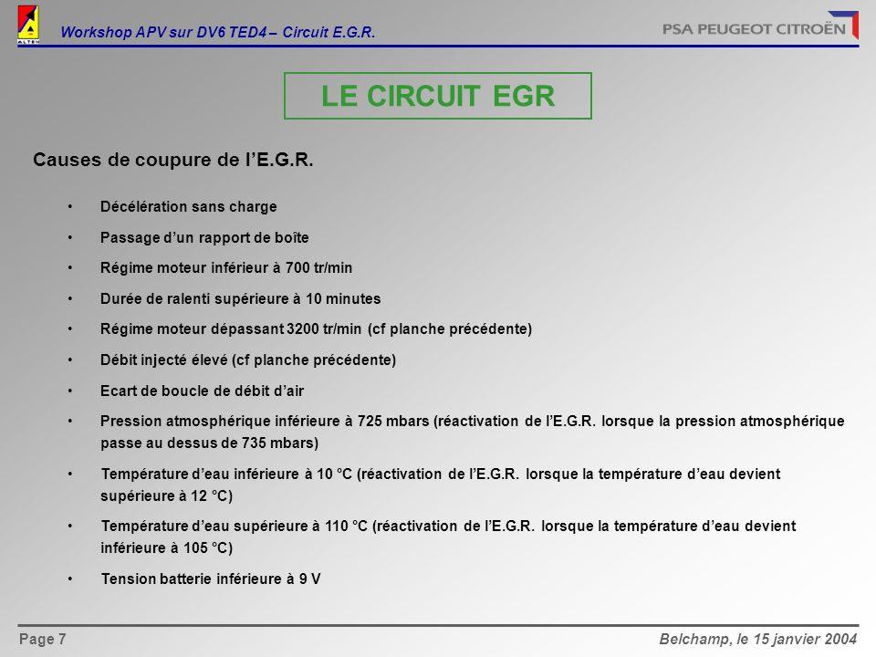 Belchamp, le 15 janvier 2004Page 7 Causes de coupure de l'E.G.R.