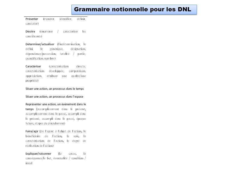 Grammaire notionnelle pour les DNL
