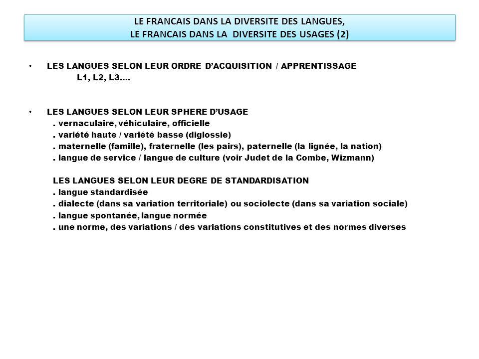 LE FRANCAIS DANS LA DIVERSITE DES LANGUES, LE FRANCAIS DANS LA DIVERSITE DES USAGES (2) LES LANGUES SELON LEUR ORDRE D'ACQUISITION / APPRENTISSAGE L1,