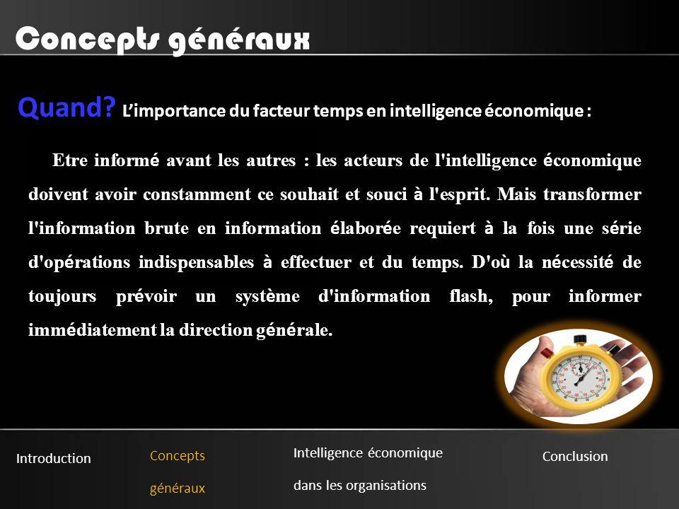 Introduction Concepts généraux Intelligence économique dans les organisations Conclusion Concepts généraux Quand.