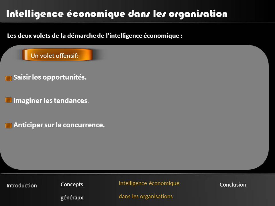 Introduction Concepts généraux Intelligence économique dans les organisations Conclusion Intelligence économique dans les organisation Les deux volets de la démarche de l'intelligence économique : : Saisir les opportunités.
