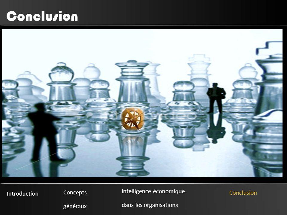 Introduction Concepts généraux Intelligence économique dans les organisations Conclusion Conclusion