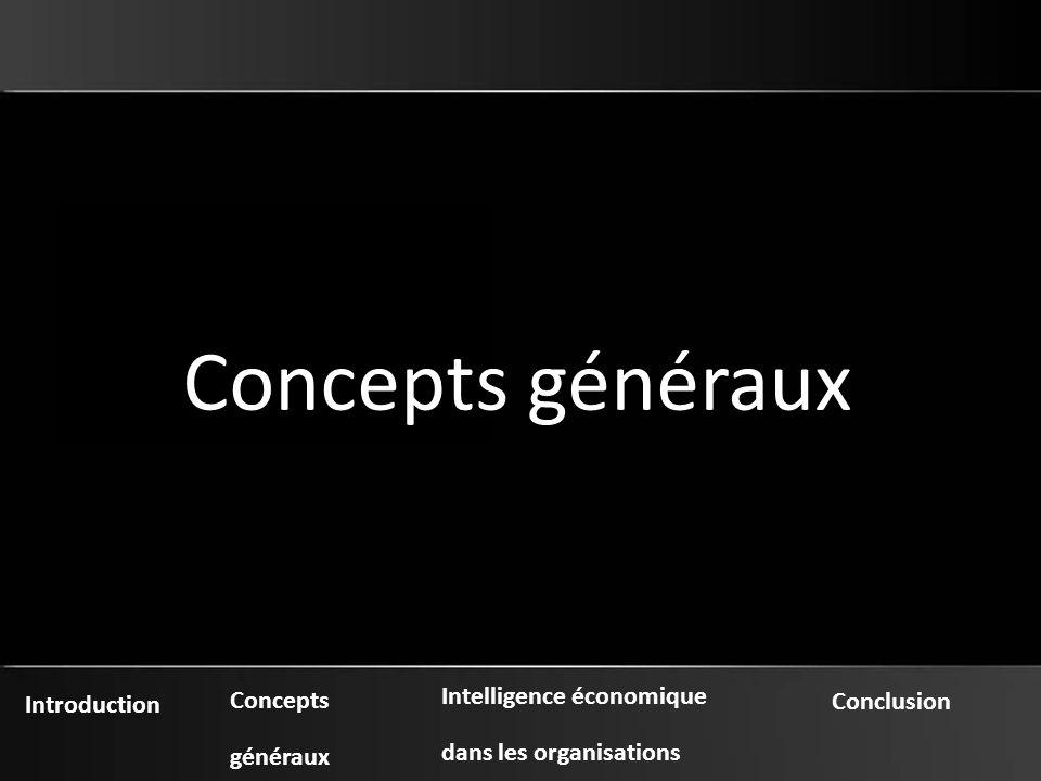 Introduction Concepts généraux Intelligence économique dans les organisations Conclusion Concepts généraux