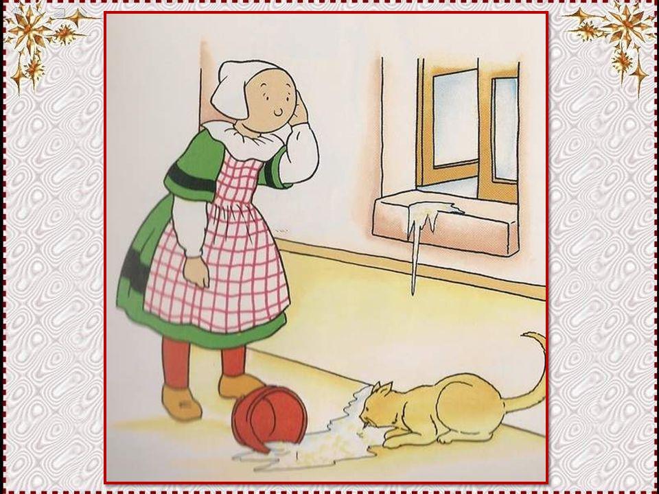 Catastrophe ! Le chat a sauté sur le rebord de la fenêtre et fait tomber le bol. Et en plus, c'est lui qui boit le lait ! Enfin, se dit la fillette, a