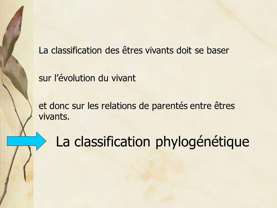 La classification des êtres vivants doit se baser sur l'évolution du vivant et donc sur les relations de parentés entre êtres vivants. La classificati