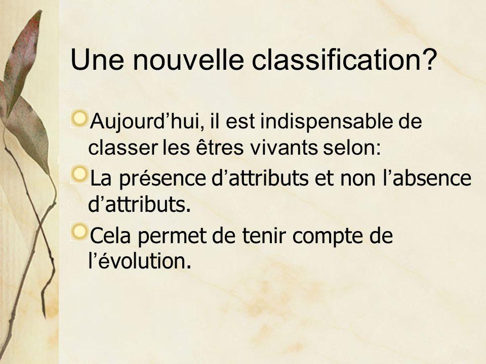 Une nouvelle classification? Aujourd'hui, il est indispensable de classer les êtres vivants selon: La pr é sence d ' attributs et non l ' absence d '