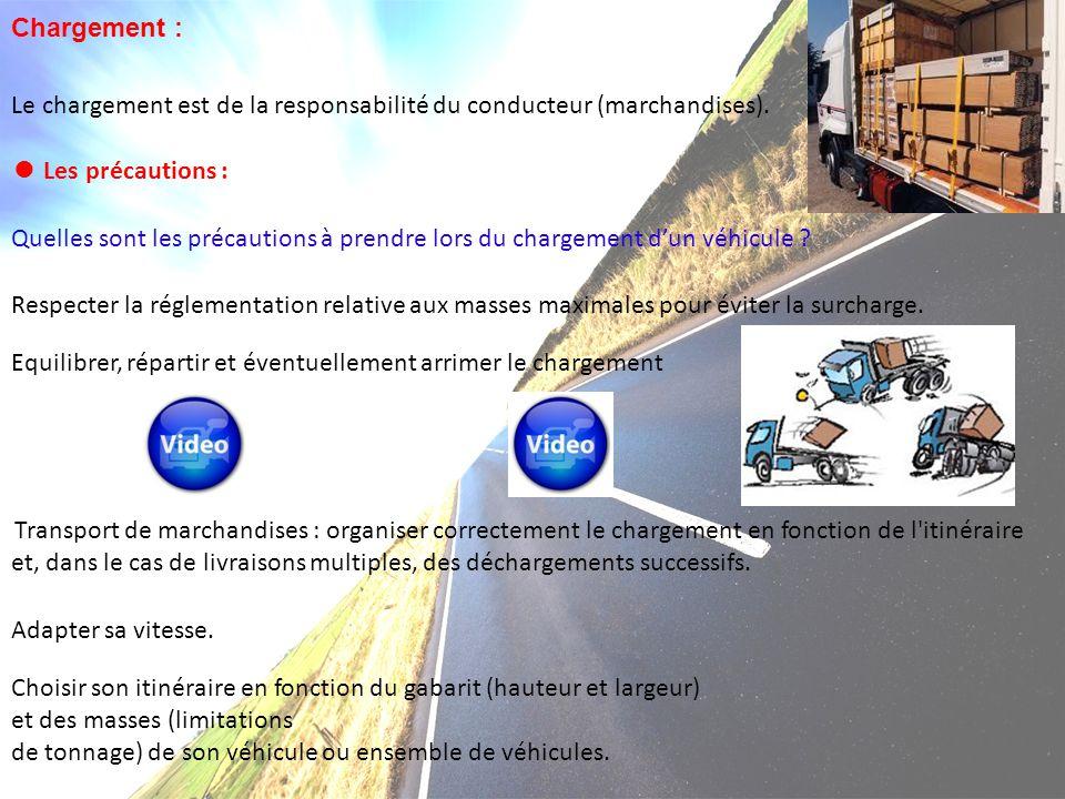 Chargement : Le chargement est de la responsabilité du conducteur (marchandises). ● Les précautions : Quelles sont les précautions à prendre lors du c