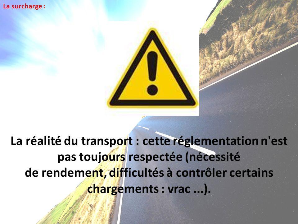 La réalité du transport : cette réglementation n'est pas toujours respectée (nécessité de rendement, difficultés à contrôler certains chargements : vr