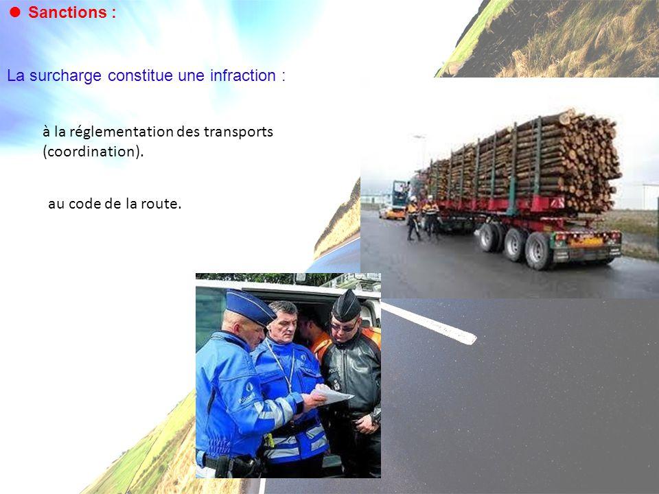 ● Sanctions : La surcharge constitue une infraction : à la réglementation des transports (coordination). au code de la route.