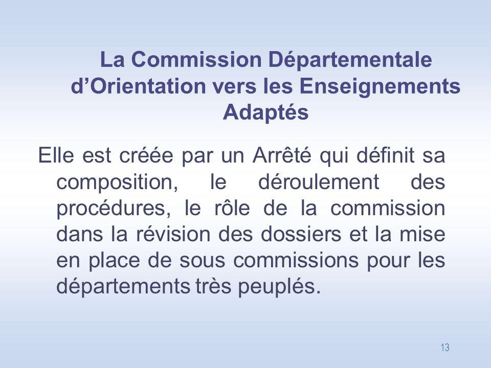 13 La Commission Départementale d'Orientation vers les Enseignements Adaptés Elle est créée par un Arrêté qui définit sa composition, le déroulement d