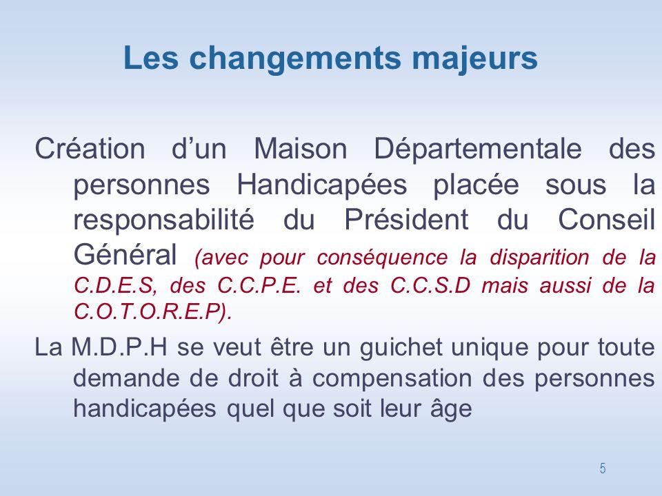 5 Les changements majeurs Création d'un Maison Départementale des personnes Handicapées placée sous la responsabilité du Président du Conseil Général
