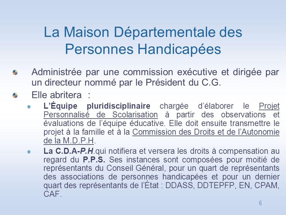 6 La Maison Départementale des Personnes Handicapées Administrée par une commission exécutive et dirigée par un directeur nommé par le Président du C.