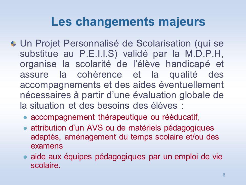 8 Les changements majeurs Un Projet Personnalisé de Scolarisation (qui se substitue au P.E.I.I.S) validé par la M.D.P.H, organise la scolarité de l'él