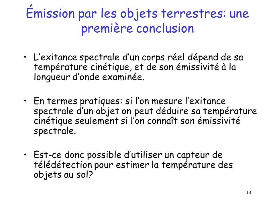 14 Émission par les objets terrestres: une première conclusion L'exitance spectrale d'un corps réel dépend de sa température cinétique, et de son émis